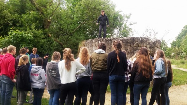 Tour Guide Kat showing the Pupils Hill 60, Mercat Tours International