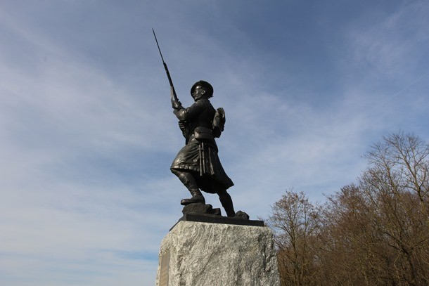 The bronze Black Watch sergeant statue  at Black Watch Corner