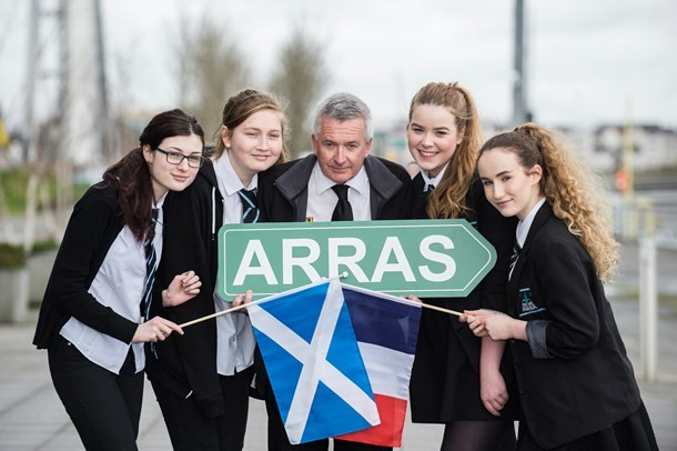 Des Brogan with S3 pupils, Mercat Tours International, prepares for the 100th Commemoration trip to Arras
