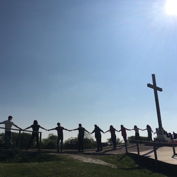 Students at Lochnagar Crater, site of WW1 explosion, on a Battlefield Tour Experience